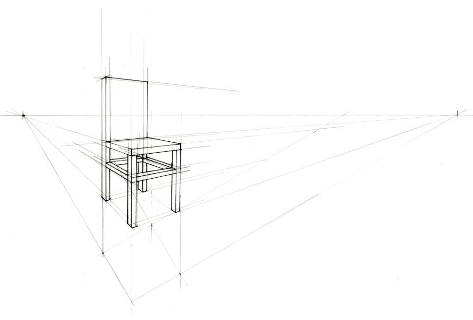 Stoel 3D met hulplijnen